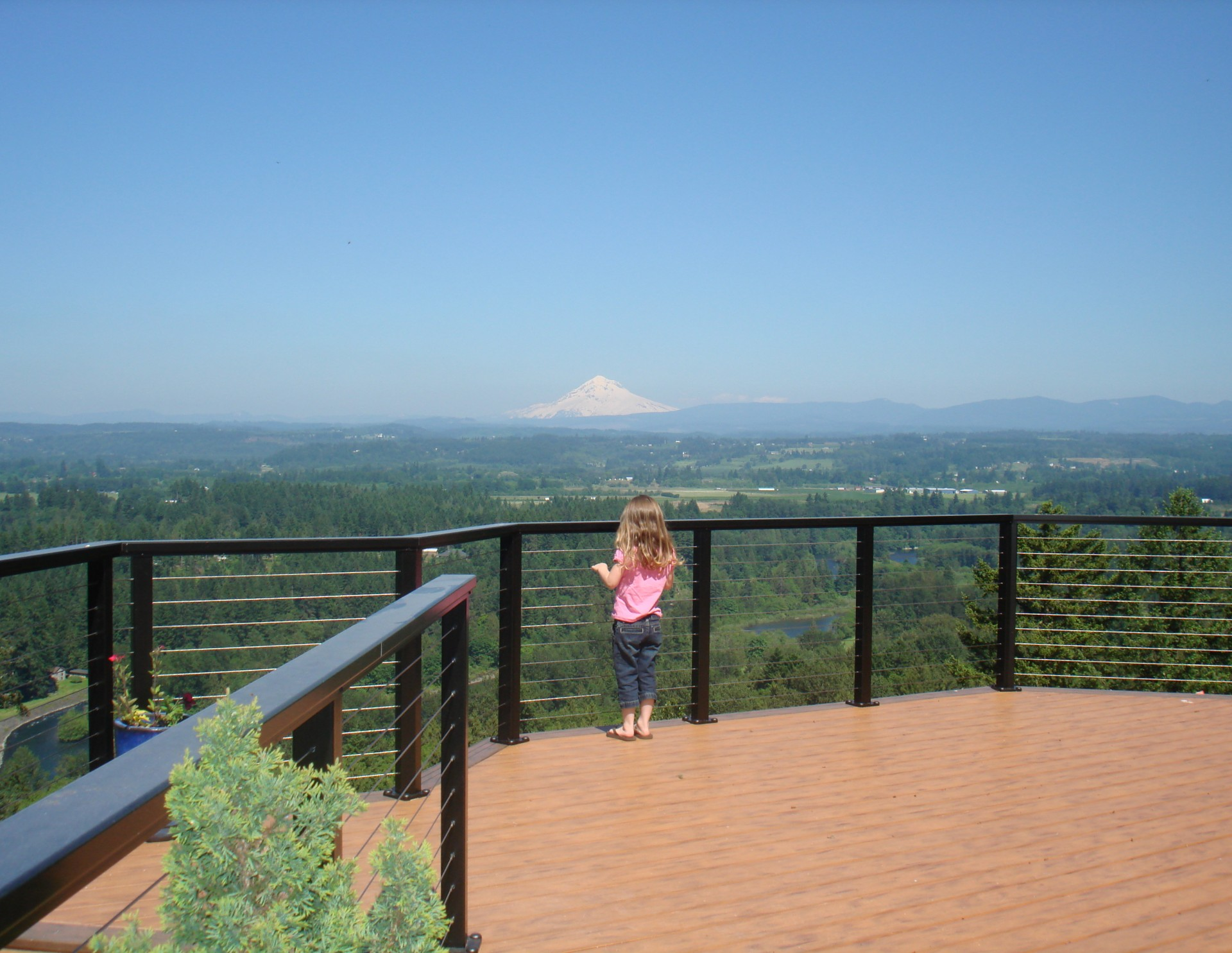 Three Rivers custom deck overlooking Mt. Hood