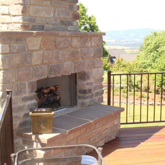 Three Rivers custom deck with outdoor fireplace